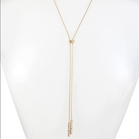 Kenneth Cole Jewelry - NWT Kenneth Cole Pave Gold Tone Slider Y Necklace.